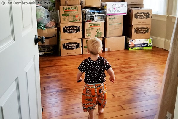 Unpacking with a toddler is a great challenge.